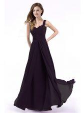 New Arrival Empire Prom Dress Purple Straps Chiffon Sleeveless Floor Length Zipper