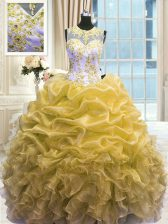 Attractive Scoop Sleeveless Organza 15 Quinceanera Dress Beading and Ruffles Zipper