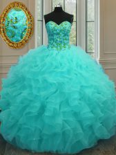 Sleeveless Organza Floor Length Lace Up Quince Ball Gowns in Aqua Blue with Beading and Ruffles