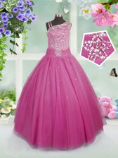 Rose Pink Ball Gowns Tulle Asymmetric Sleeveless Beading Floor Length Side Zipper Child Pageant Dress