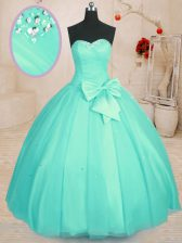 Fitting Floor Length Lace Up Quinceanera Gown Aqua Blue for Military Ball and Sweet 16 and Quinceanera with Beading and Bowknot