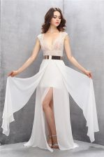 Excellent White Prom Dresses Tulle Sweep Train Sleeveless Lace and Belt