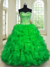 Hot Sale Organza Sweetheart Sleeveless Lace Up Beading and Ruffles Quinceanera Gown in Green