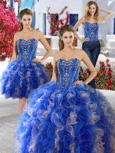 Three Piece Blue Lace Up 15 Quinceanera Dress Beading Sleeveless Floor Length
