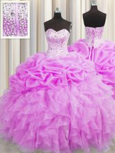 Cute Visible Boning Lilac Sleeveless Floor Length Beading and Ruffles and Pick Ups Lace Up Quinceanera Gowns