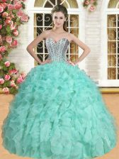 Apple Green Sweetheart Lace Up Beading and Ruffles Quinceanera Gown Sleeveless