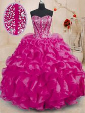 Stunning Fuchsia Lace Up Sweetheart Beading and Ruffles Sweet 16 Quinceanera Dress Organza Sleeveless