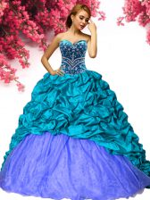 Sleeveless Taffeta Brush Train Lace Up Vestidos de Quinceanera in Teal with Beading and Pick Ups