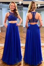 Royal Blue A-line Tulle Scoop Sleeveless Beading Floor Length Zipper Prom Gown