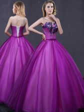 Dramatic Scoop Floor Length Ball Gowns Sleeveless Purple Quinceanera Dress Lace Up