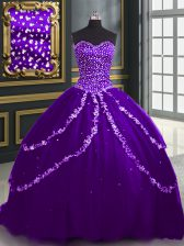 Modern With Train Purple 15 Quinceanera Dress Sweetheart Sleeveless Brush Train Lace Up