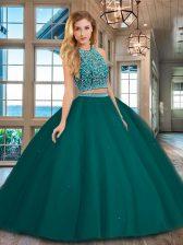 Best Selling Scoop Sleeveless Backless Sweet 16 Dresses Dark Green Tulle