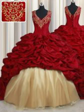 Red Taffeta Lace Up V-neck Sleeveless Quinceanera Gown Sweep Train Beading and Appliques and Pick Ups