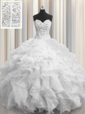 Visible Boning White Sleeveless Organza Lace Up Sweet 16 Dress for Military Ball and Sweet 16 and Quinceanera