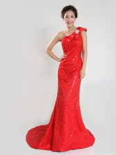 One Shoulder Coral Red Zipper Prom Dress Sequins and Bowknot Sleeveless Sweep Train