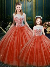 Inexpensive Orange Red Ball Gowns Lace Quinceanera Dress Zipper Tulle Sleeveless Floor Length
