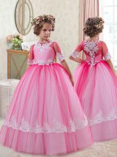Custom Designed Tulle Scoop Half Sleeves Zipper Lace Pageant Gowns For Girls in Fuchsia