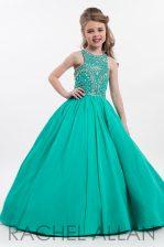 Sleeveless Zipper Floor Length Beading Pageant Gowns For Girls
