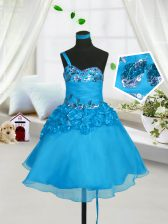 Baby Blue Lace Up Little Girls Pageant Dress Wholesale Beading and Hand Made Flower Sleeveless Knee Length