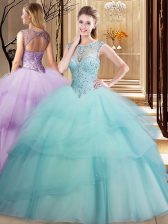 Scoop Beading and Ruffled Layers Quinceanera Dresses Aqua Blue Lace Up Sleeveless Brush Train