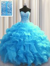 Amazing Visible Boning Baby Blue Sleeveless Beading and Ruffles Floor Length Vestidos de Quinceanera