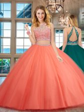 Watermelon Red Scoop Neckline Beading 15th Birthday Dress Sleeveless Backless