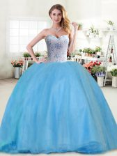Baby Blue Sleeveless Beading Floor Length Quinceanera Gowns