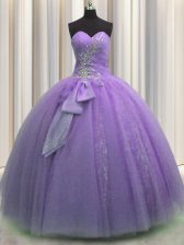 Dazzling Lavender Lace Up Sweetheart Beading and Sequins and Bowknot 15 Quinceanera Dress Tulle Sleeveless