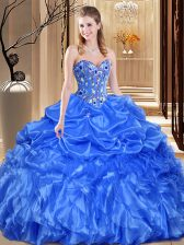 Organza Sweetheart Sleeveless Lace Up Lace and Appliques Ball Gown Prom Dress in Royal Blue