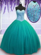 Latest Floor Length Turquoise Vestidos de Quinceanera Sweetheart Sleeveless Lace Up