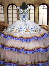 Beautiful Organza and Taffeta Straps Sleeveless Lace Up Embroidery and Ruffled Layers 15 Quinceanera Dress in White