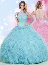 Customized Floor Length Ball Gowns Sleeveless Baby Blue Sweet 16 Dresses Lace Up
