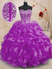 Fantastic Purple Sleeveless Floor Length Beading and Ruffles Lace Up 15 Quinceanera Dress