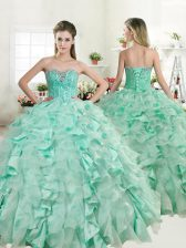 Apple Green Ball Gowns Beading and Ruffles Quince Ball Gowns Lace Up Organza and Taffeta Sleeveless Floor Length