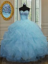 Fashion Sweetheart Sleeveless Lace Up Quinceanera Dress Baby Blue Organza