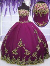 Beautiful Fuchsia Strapless Neckline Appliques Sweet 16 Quinceanera Dress Sleeveless Zipper