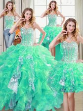 Graceful Four Piece Sequins Floor Length Turquoise 15th Birthday Dress Sweetheart Sleeveless Lace Up
