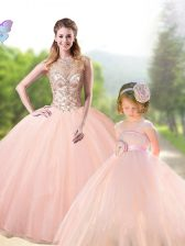 Spectacular Scoop Sleeveless Beading Lace Up Ball Gown Prom Dress