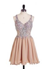 Fabulous Sleeveless Chiffon Knee Length Side Zipper Homecoming Dress in Peach with Beading