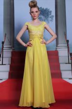 Glorious Scalloped Beading and Appliques and Pleated Prom Evening Gown Yellow Side Zipper Short Sleeves Floor Length