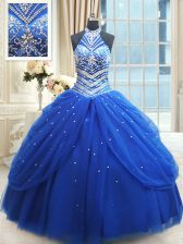 Excellent Halter Top Pick Ups Royal Blue Sleeveless Tulle Lace Up Sweet 16 Dress for Military Ball and Sweet 16 and Quinceanera