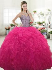 Flare Hot Pink Lace Up Sweetheart Beading and Ruffles Vestidos de Quinceanera Tulle Sleeveless