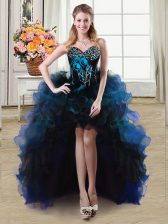 Best Selling Blue Organza and Tulle Lace Up Sweetheart Sleeveless High Low Evening Dress Beading and Ruffles and Hand Made Flower