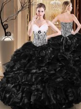 Amazing Floor Length Lace Up Quinceanera Gown Black for Military Ball and Sweet 16 and Quinceanera with Ruffles and Pattern