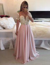 A-line Prom Dress Pink Scoop Chiffon Short Sleeves Floor Length Zipper