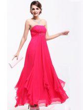 Hot Pink Strapless Neckline Beading and Ruching Sleeveless Zipper