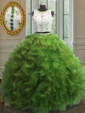 Flare Green Scoop Clasp Handle Appliques and Ruffles Ball Gown Prom Dress Sleeveless