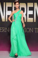 One Shoulder Floor Length Turquoise Prom Dresses Chiffon Sleeveless Beading and Ruching