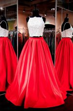 Red Backless Square Lace and Ruching Homecoming Dress Elastic Woven Satin Sleeveless