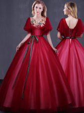 Dynamic Scoop Wine Red Lace Up Quinceanera Dress Appliques and Belt Short Sleeves Floor Length